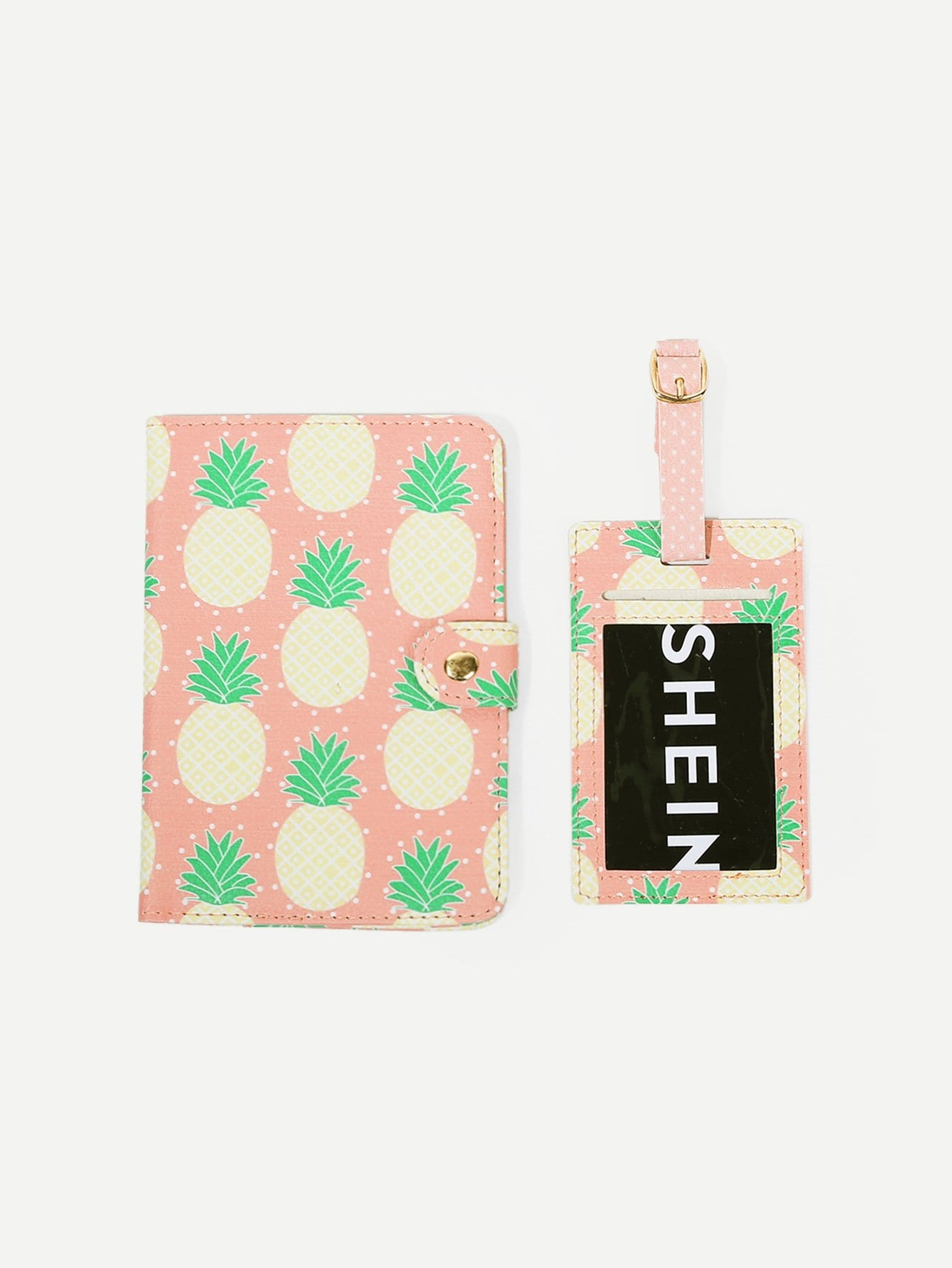 Pineapple Print PU Luggage Tag & Passport Package love and clouds two kinds of styles passport cover passport holder luggage tag silicone strap three pieces