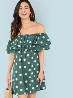 Layered Flounce Foldover Polka Dot Bardot Dress