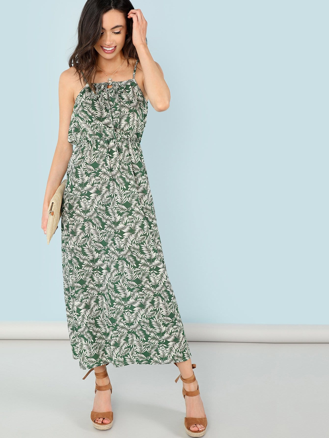 Leaf Print Knot Front Cami Dress