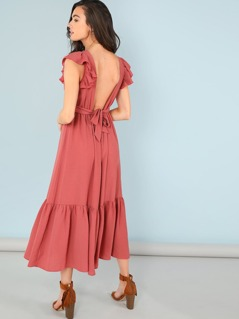Ruffle Cuff and Hem Solid Dress