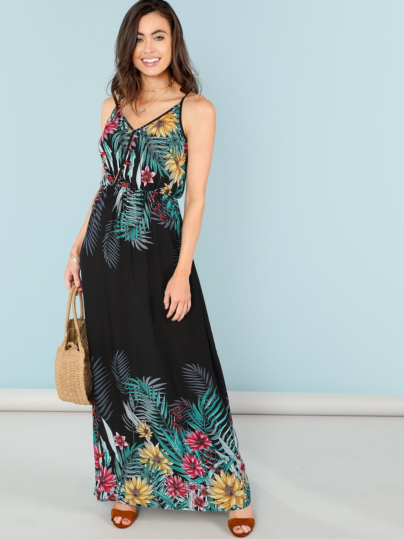 Flower Print Wrap Front Cami Dress