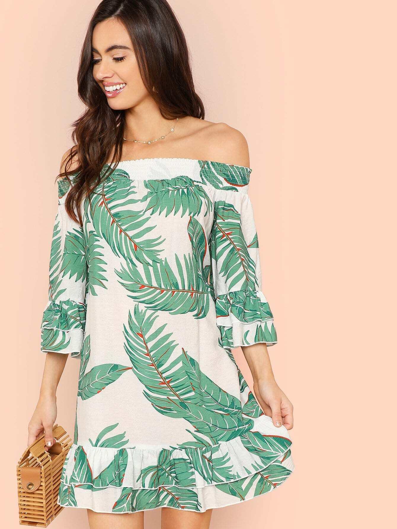 Shirred Off Shoulder Layered Ruffle Trim Tropical Dress layered ruffle trim satin wrap dress
