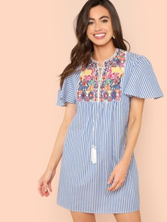 Tassel Tie Neck Embroidered Yoke Dress