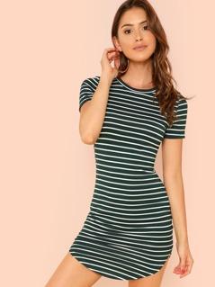 Striped Curved Hem Dress