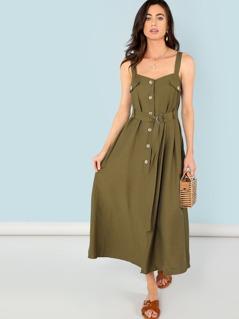 Button Embellished Self Belted Slit Dress