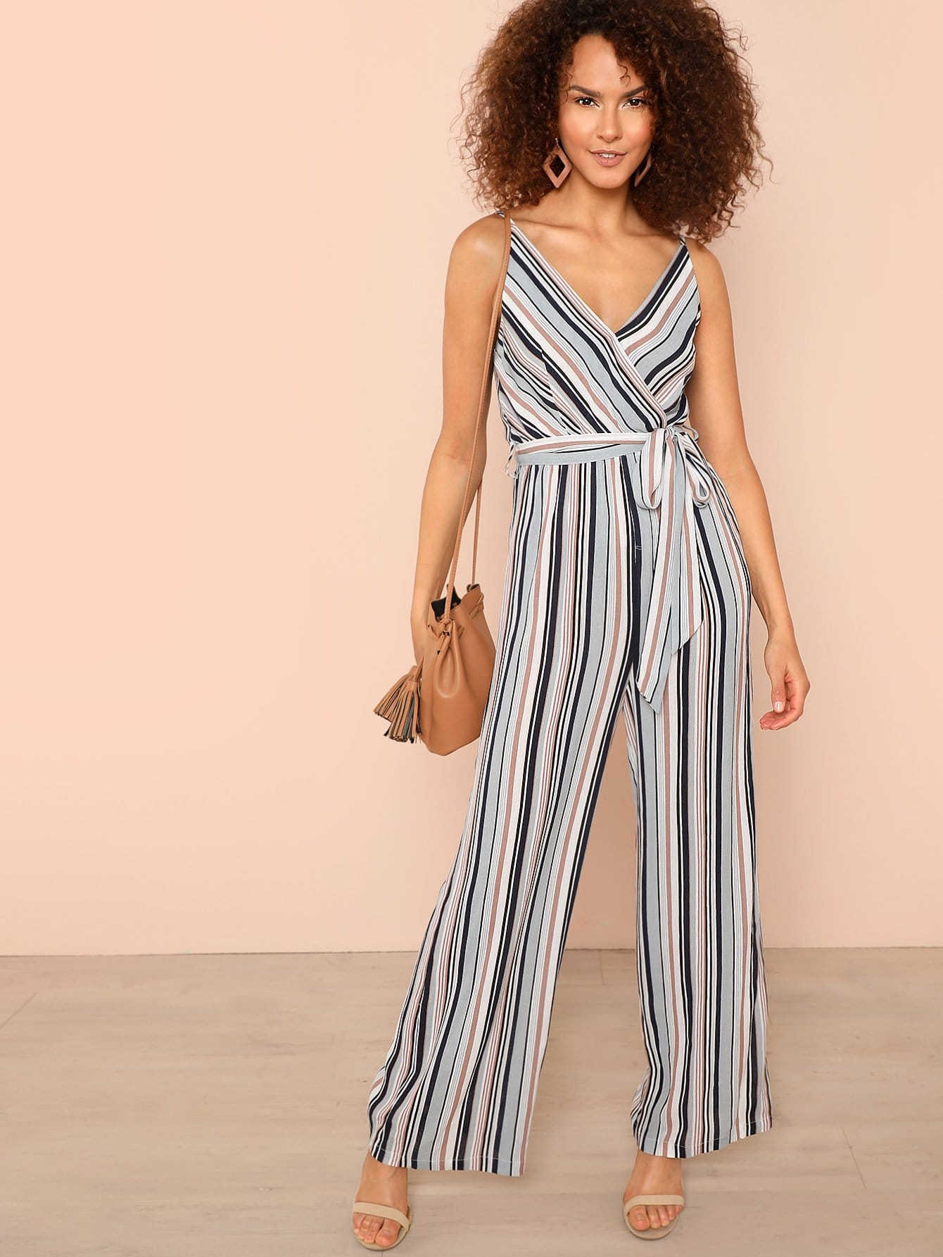 Self Belted Surplice Neck Wide Leg Cami Jumpsuit wide leg scoop neck cami jumpsuit
