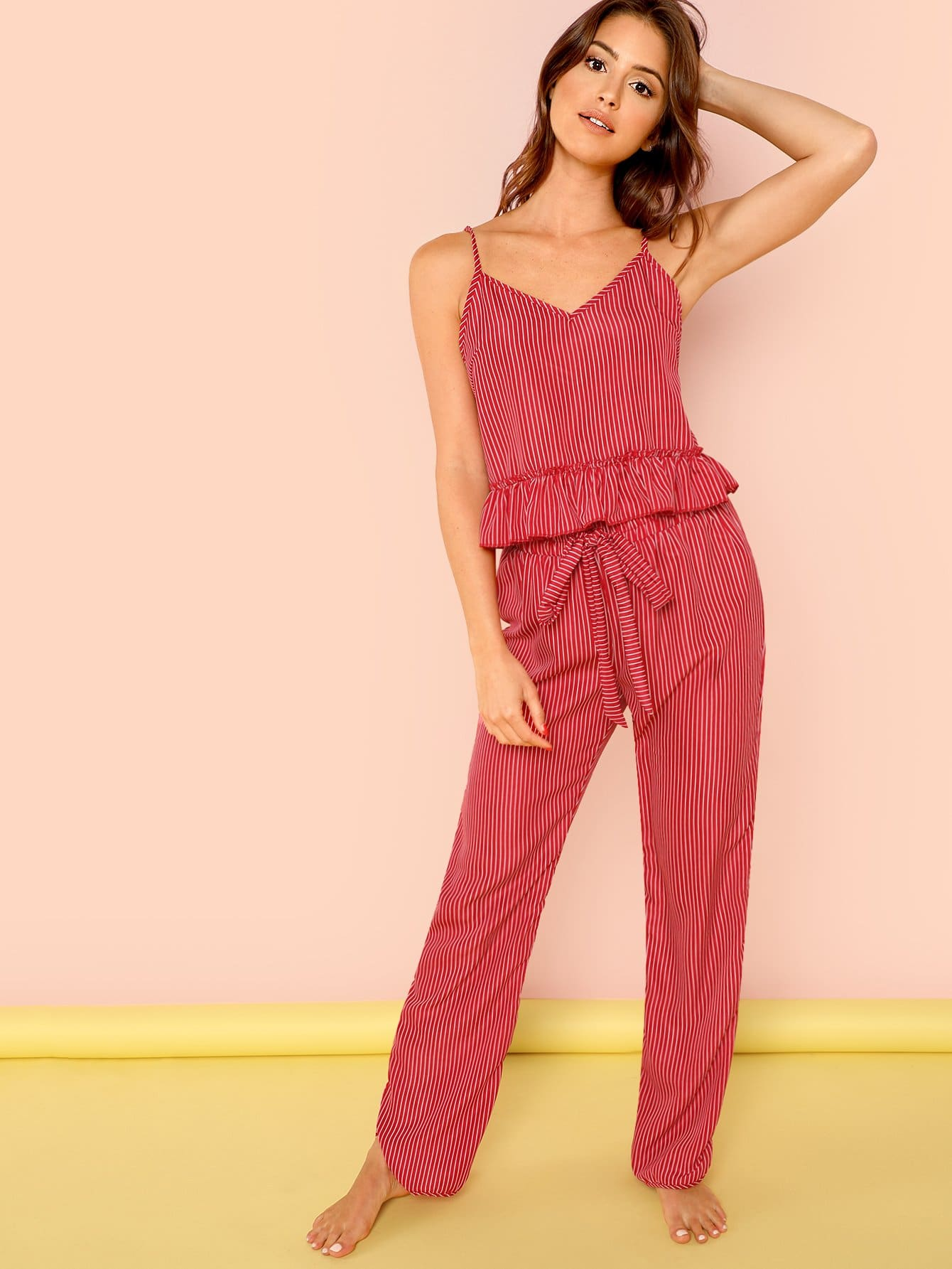 Frill Trim Striped Cami And Belted Pants Pajama Set frill trim cami and shorts pajama set