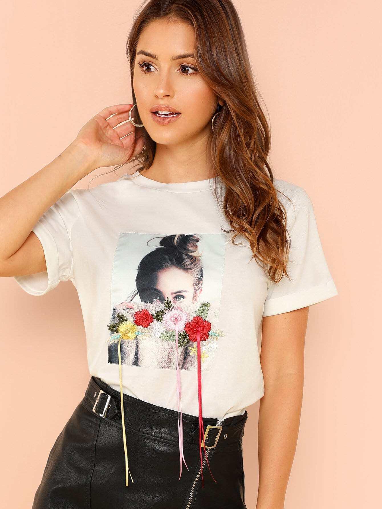 Flower Applique Figure Print T-shirt redfox футболка flower t 42 4300 желтый
