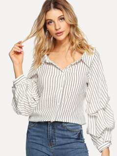 Gathered Sleeve Pinstripe Shirt