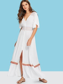 Flutter Sleeve Split Front Dress
