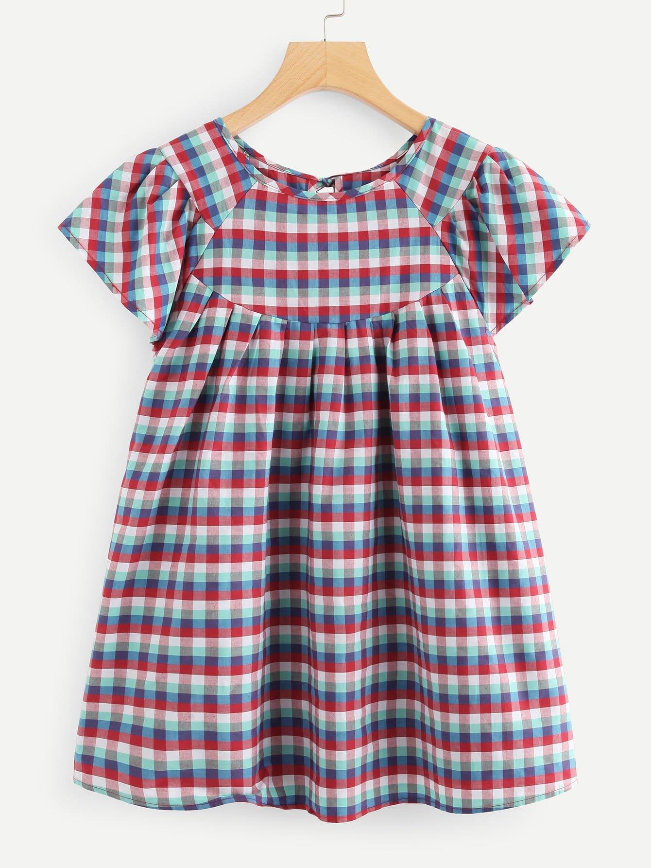 Raglan Sleeve Plaid Smock Top raglan sleeve smock gingham dress