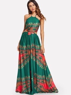 Ornate Print Cut Out Halter Dress