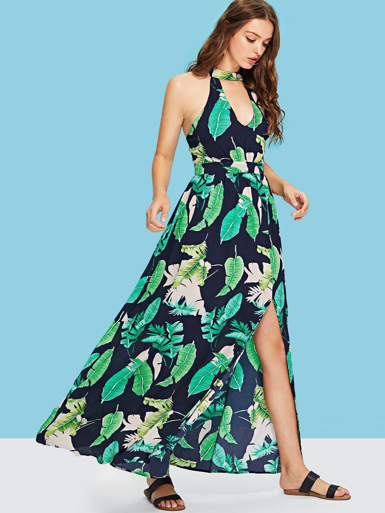 Купить Платье с оболочкой из джунглей, Luiza, SheIn