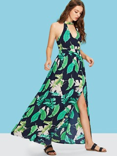 Jungle Leaf Print Shell Dress