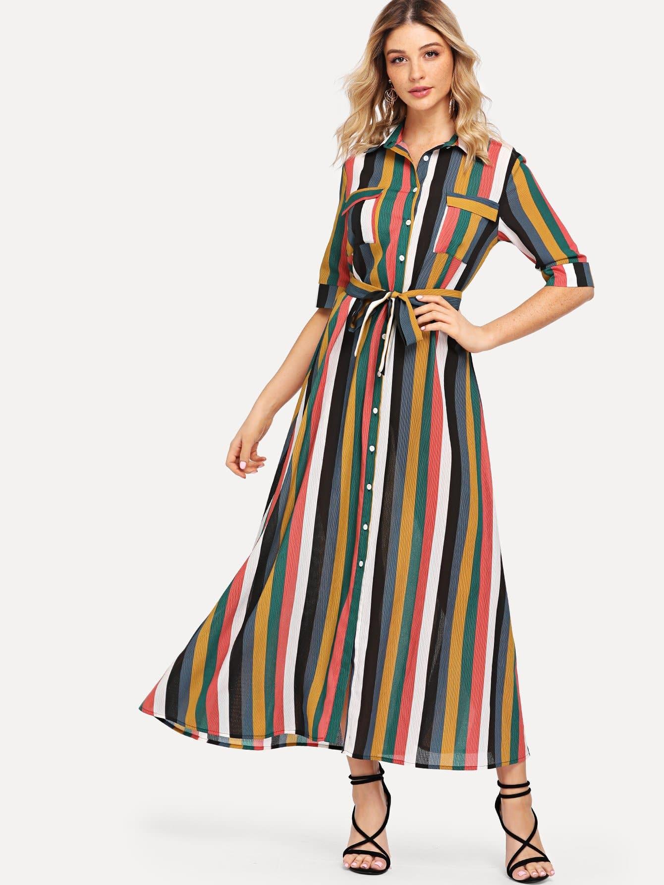 Купить Карманное платиновое полосатое платье для рубашек, Nathane, SheIn
