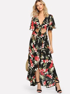 Botanical Print Flutter Sleeve Knot Cut Out Front Dress