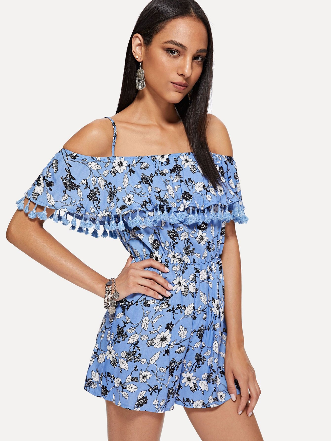 все цены на Flounce Embellished Tassel Hem Floral Cami Jumpsuit