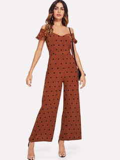 V Neck Wide Leg Polka Dot Jumpsuit