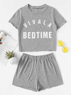 Heather Knit Graphic Tee & Shorts PJ Set