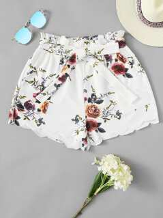 Frilled Waist Scalloped Floral Shorts