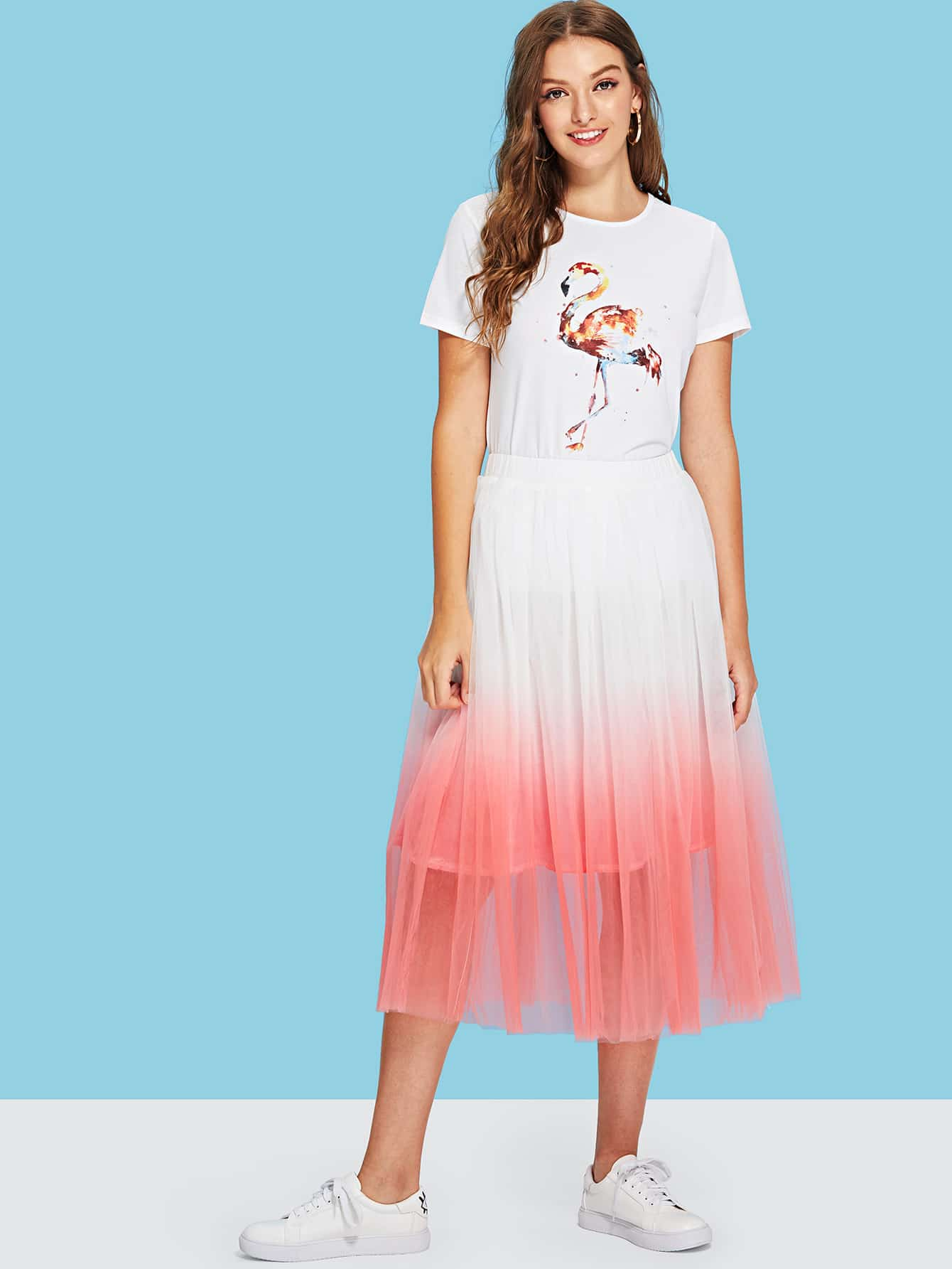 Flamingo Print Tee & Ombre Circle Skirt Set ombre circle calf length socks
