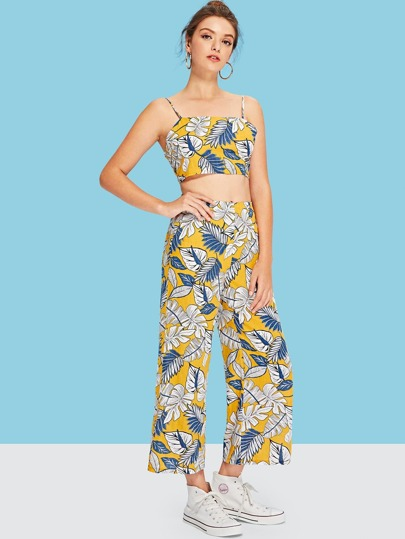 SheIn / Jungle Leaf Cami Top and Wide Leg Pants Set