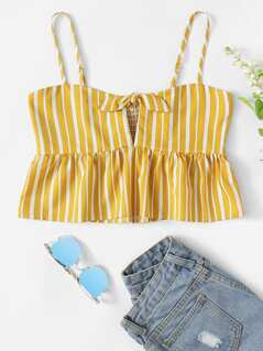 Knot Front Shirred Panel Striped Cami Crop Top