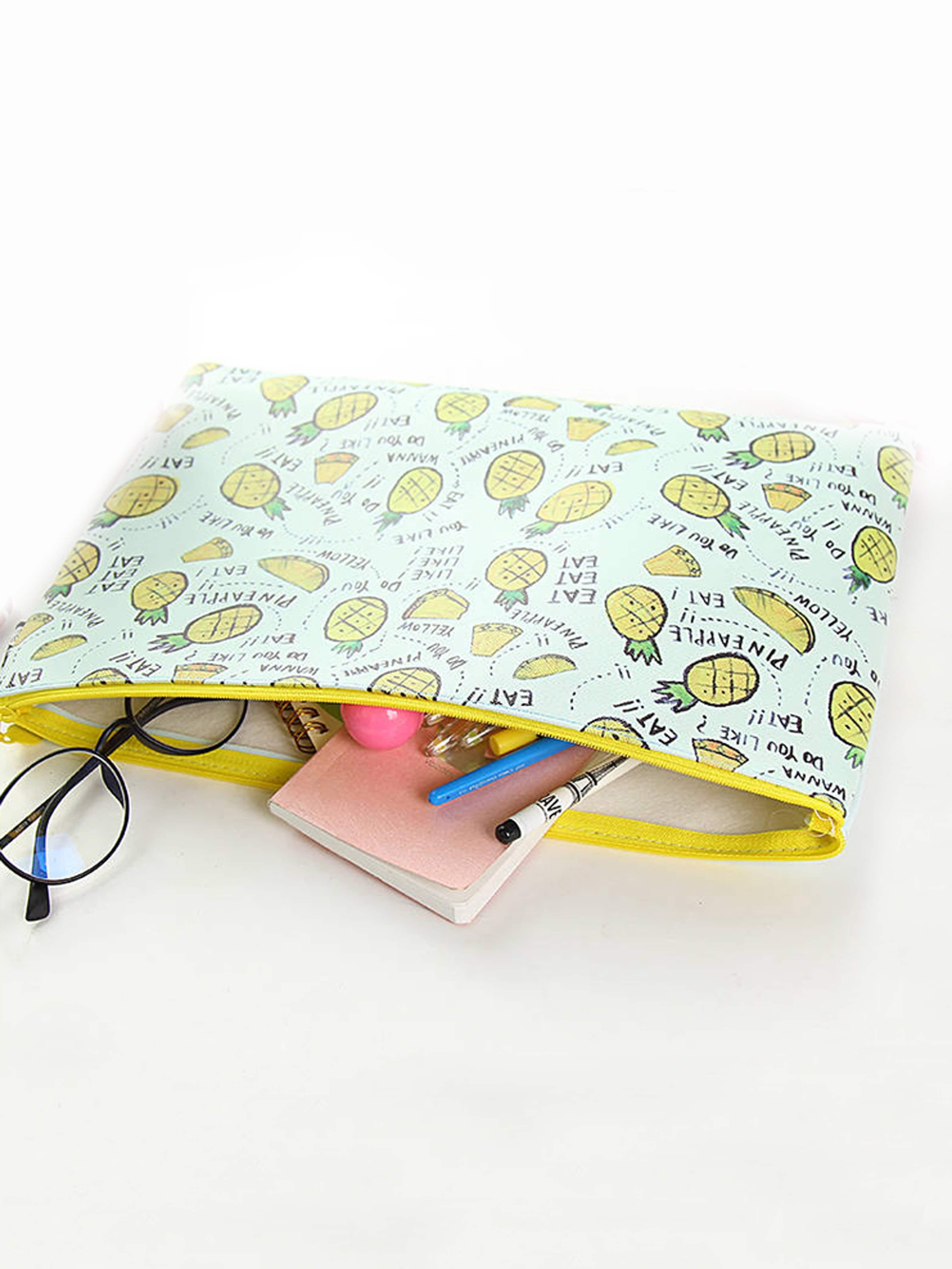 Pineapple Print File Bag