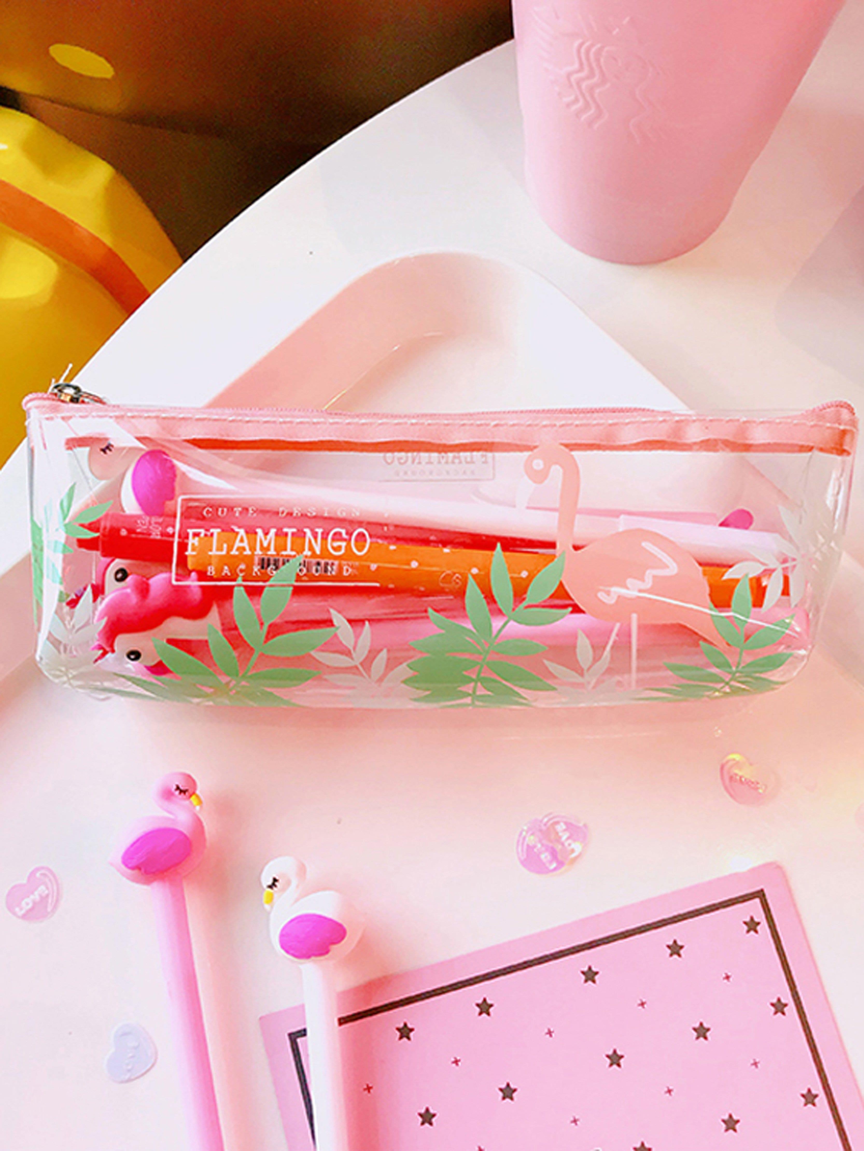 Flamingo Print Transparent Pencil Case strawberry print pencil case