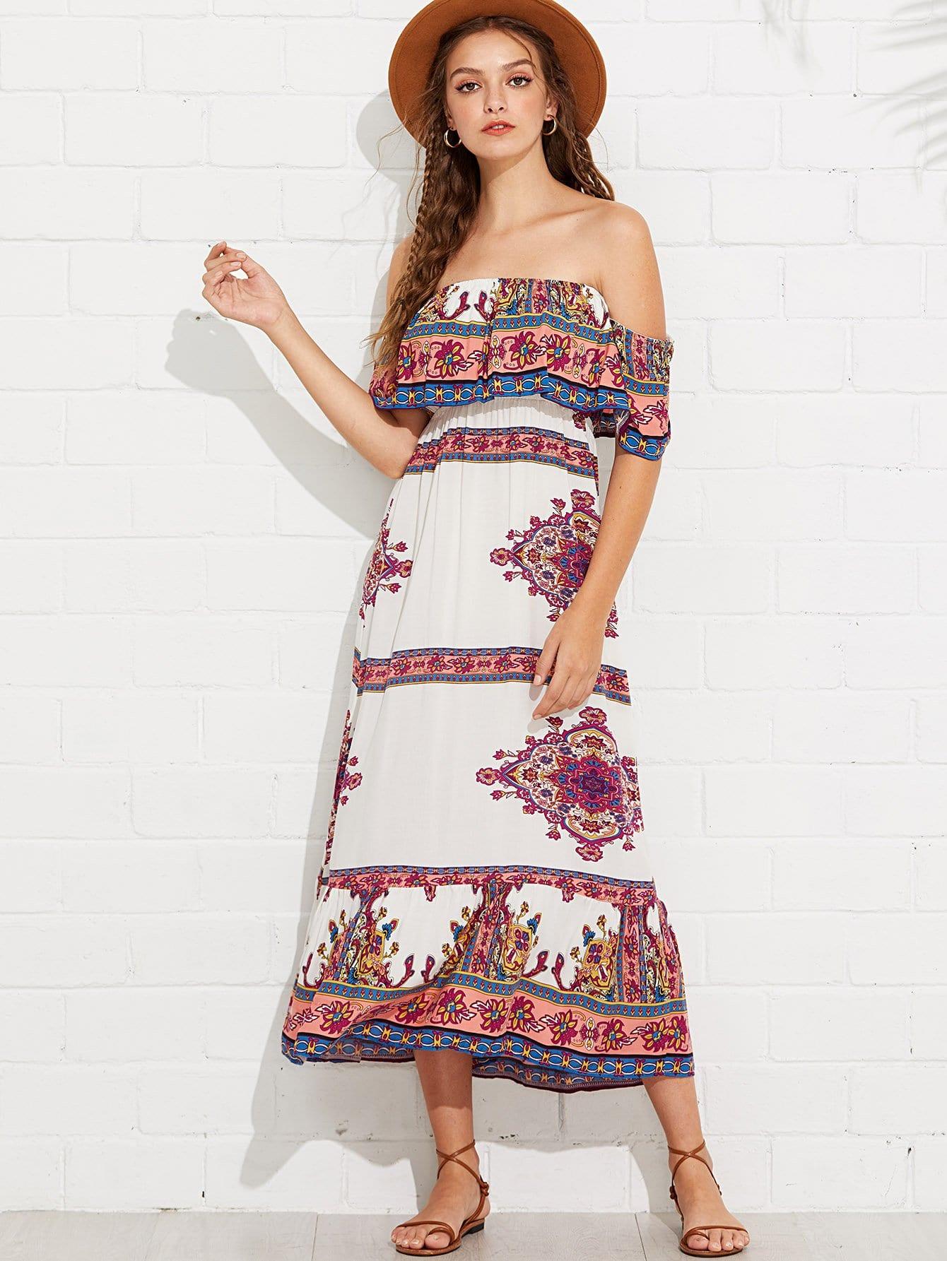 Off Shoulder Floral Printed Dress stylish off the shoulder floral printed