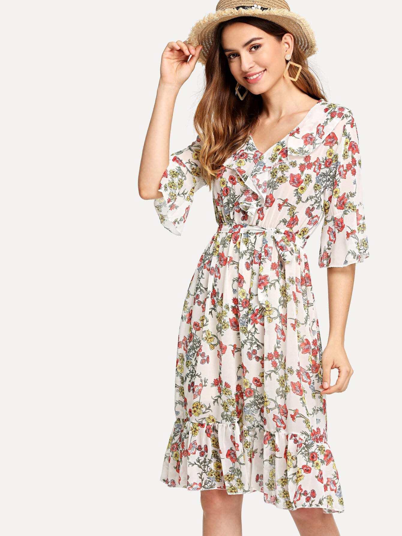 Self Tie Waist Ruffle Hem Florals Dress self tie waist ruffle skirt
