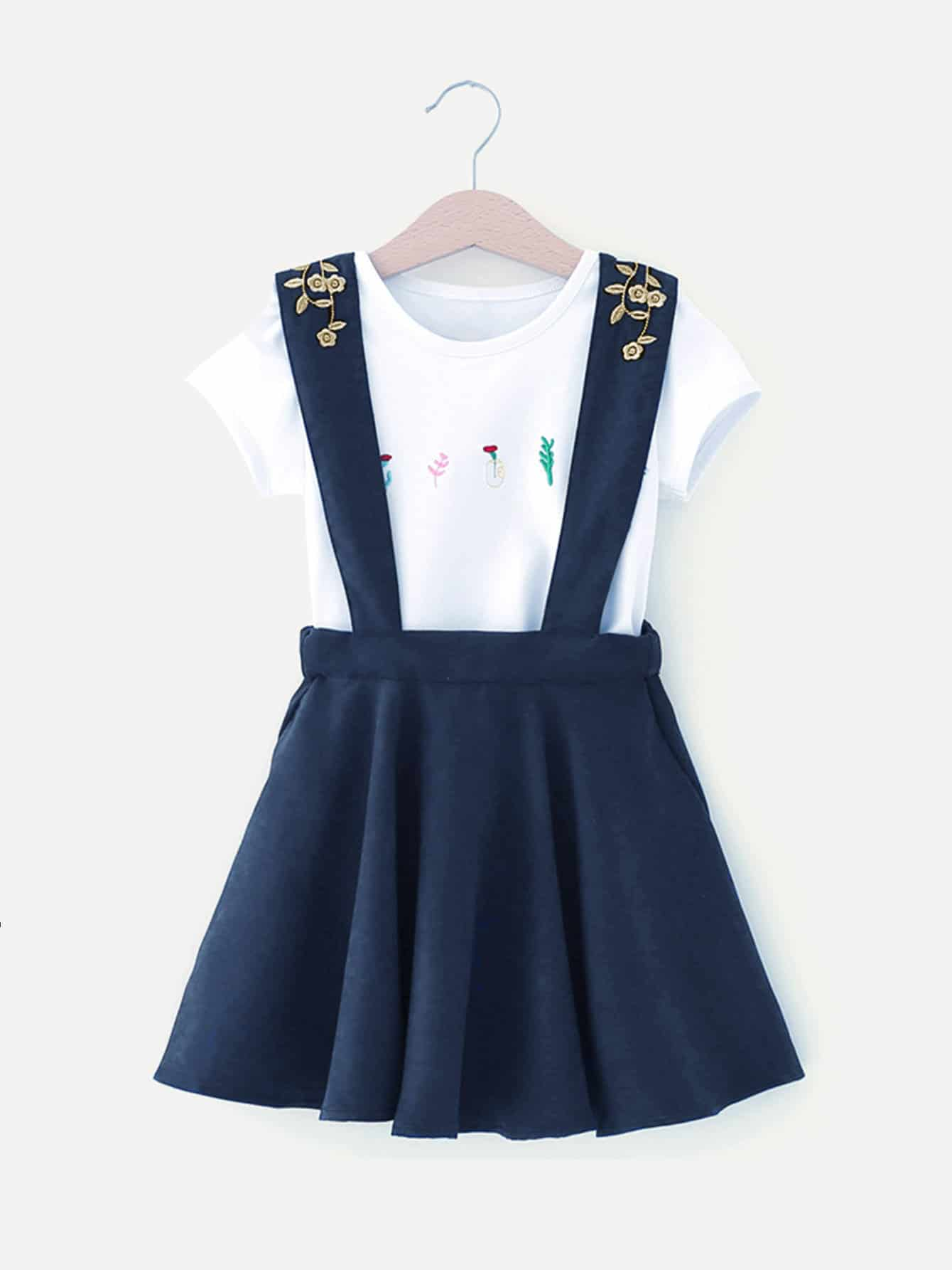 Girls Plants Embroidery Tee With Pinafore Skirt girls print tee