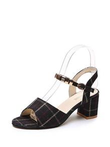 Plaid Detail Metal Heeled Sandals