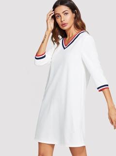 Neck & Sleeve Striped V-Neck Dress