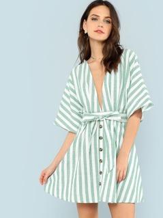 Deep V Neck Button Front Striped Dress