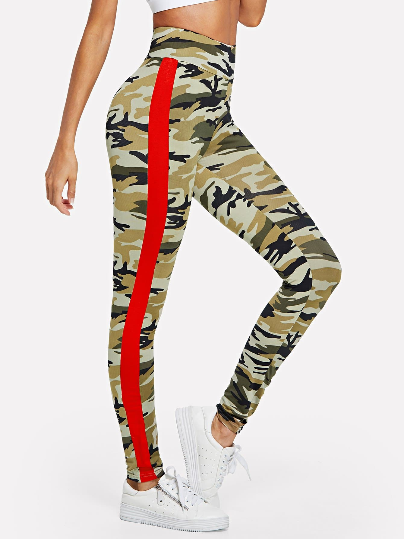 Side Striped Camouflage Print Leggings camouflage print crop leggings