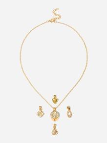 Heart Detail Detachable Necklace 5pcs