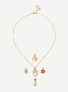 Hollow Flower Detail Detachable Necklace 5pcs