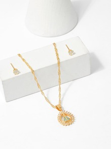 Waterdrop Pendant Necklace & Earrings Set