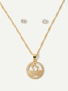 Swan Detail Pendant Necklace & Earrings Set