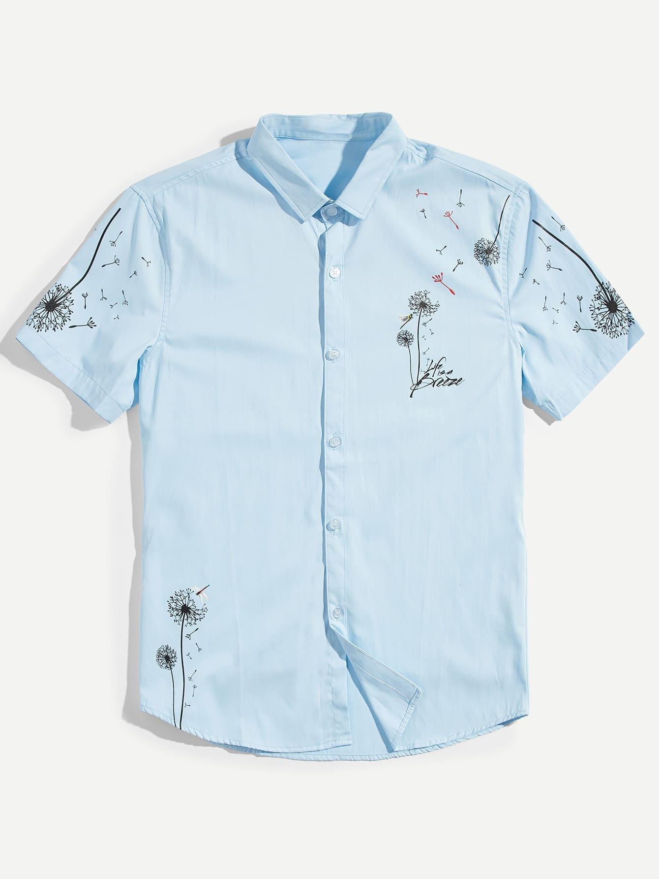 Купить Мужская рубашка для печати «Одуванчик», null, SheIn