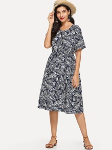 Leaf Print Drawstring Waist Dress