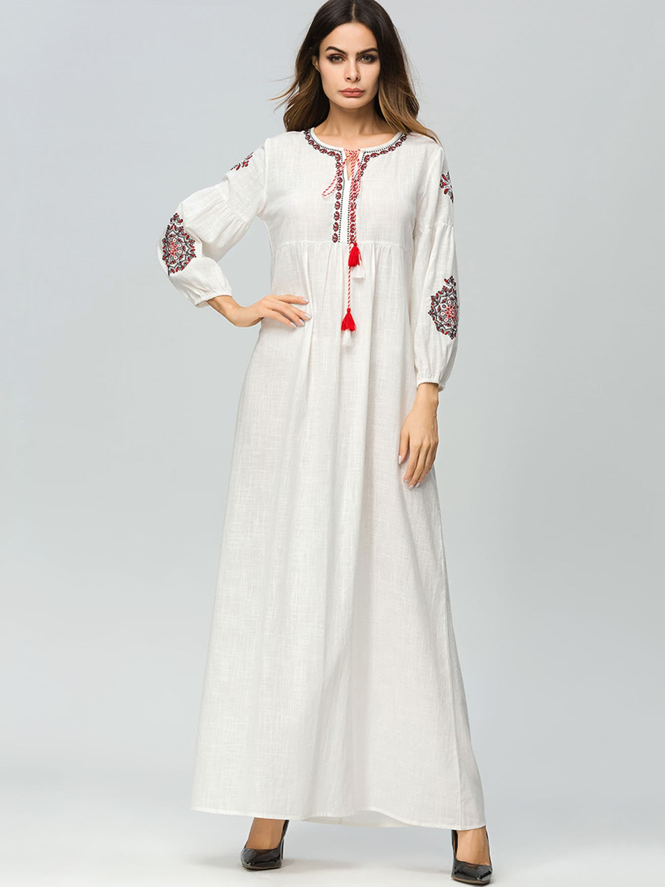 Floral Embroidered Tie Neck Longline Dress