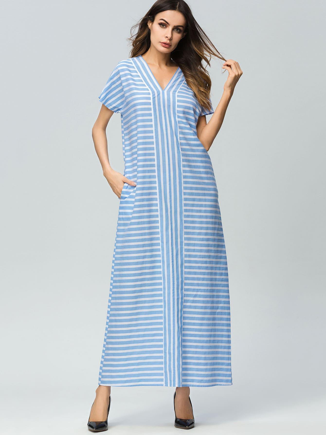 Купить Длинное полосатое платье со скрытым карманом, Andy, SheIn