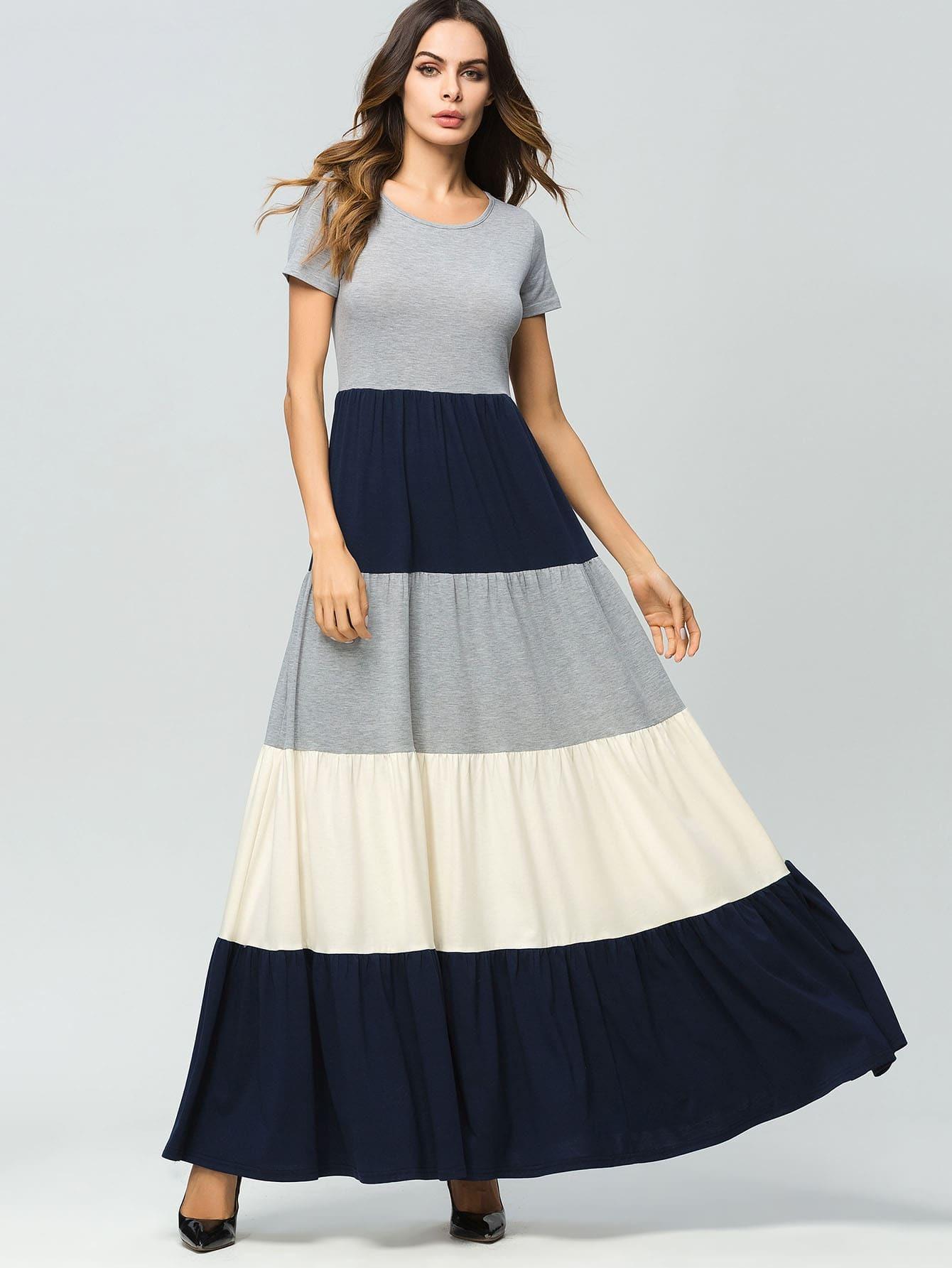 Купить Длинное расклешенное платье с яркой полосой, Andy, SheIn