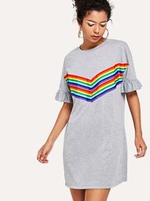 Rainbow Print Ruffle Sleeve Dress