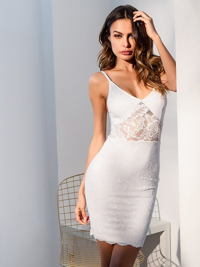 Lace Contrast Cami Dress contrast lace knot cami dress