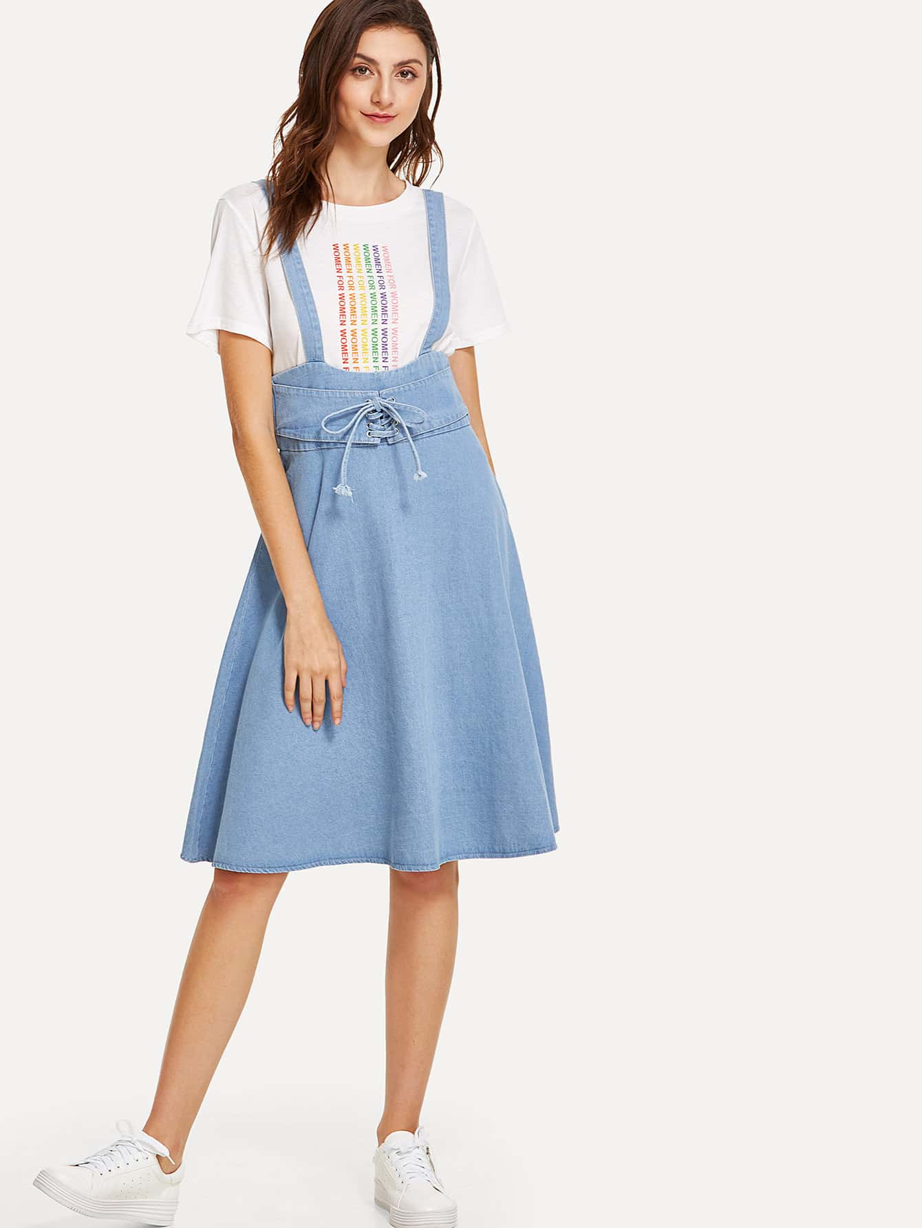 Lace Up Overall Denim Dress overall yumi overall