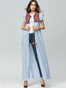 Graphic Embroidered Self Tie Longline Kimono