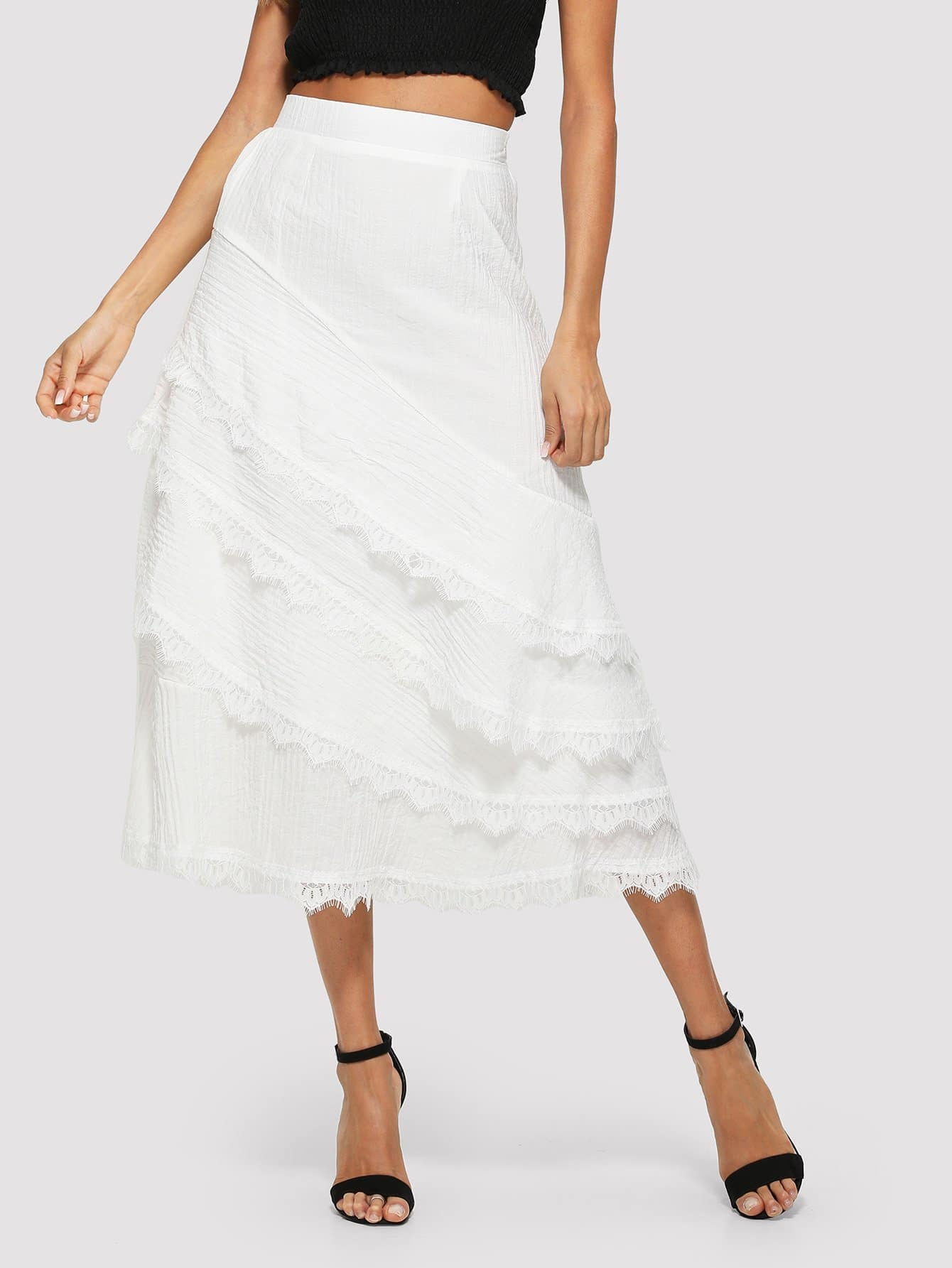 Фото - Lace Contrast Tiered Layered Skirt lace tiered layer skirt